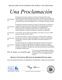 National School Lunch Week Proclamation