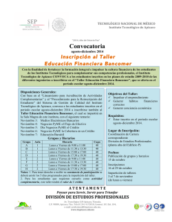 Convocatoria - Instituto Tecnológico de Apizaco
