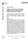 Discurso de Catalá durante su comparecencia ante la - La Moncloa