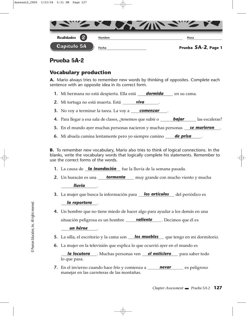 realidades 2 para empezar prueba p-1 answers