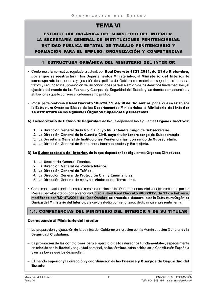 Actualización Tema 6 Organización Del Estado Ignacio G Ch