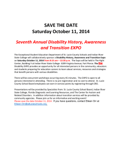 SAVE THE DATE Saturday October 11, 2014 - St. Lucie County