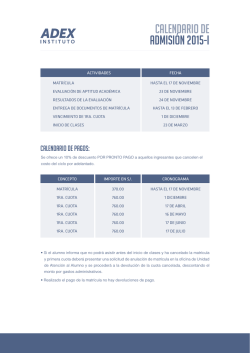 CALENDARIO DE ADMISIÓN 2015-I - Instituto ADEX