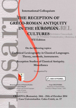 The Reception of Greco-Roman Antiquity in the European Cultures