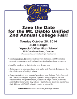 Save the Date for the Mt. Diablo Unified 2nd Annual - Olympic High