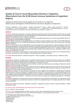 Quality of Care for acute Myocardial infarction in argentina