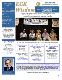 Dallas Monthly News Letter - ECKANKAR In Texas
