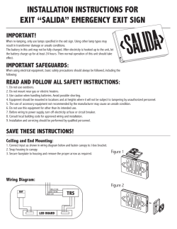 "installation instructions for exit ""salida"" emergency exit sign"