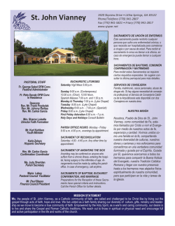 Current Bulletin - St. John Vianney Catholic Church