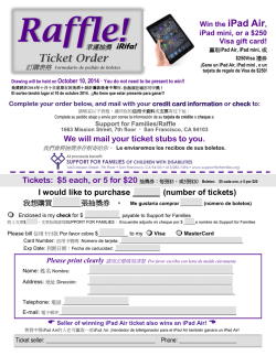 Ticket Order - Support for Families of Children with Disabilities