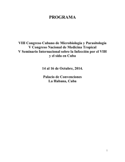 Preliminar program - 8th Cuban Congress on Microbiology and