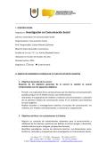 Investigación en Comunicación Social - Facultad de Humanidades