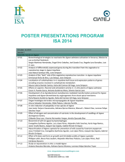 poster presentations program isa 2014 - Simposio Internacional de