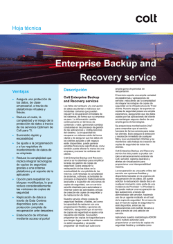 Enterprise Backup and Recovery service - Colt IT Services