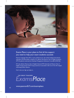 www.pearsonELT.com/examsplace Exams Place is your place to