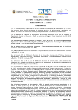 RESOLUCIÓN No. 14 387 MINISTERIO DE INDUSTRIAS Y