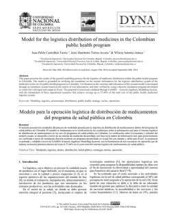 Model for the logistics distribution of medicines in - DYNA - Medellín