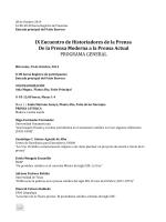 IX Encuentro de Historiadores de la Prensa De la Prensa Moderna a