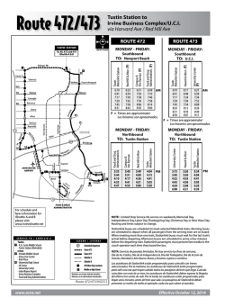 Route 472/473 Tustin Station to Irvine Business Complex/U.C.I. via