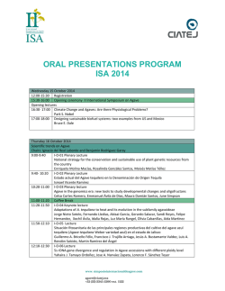 oral presentations program isa 2014 - Simposio Internacional de