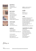 A La Carte Menu - Fino