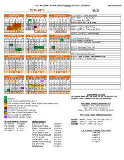 Updated 2014/2015 School Calendar - East Allegheny School District