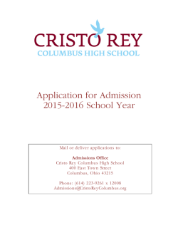 Application for Admission 2015-2016 School Year - Cristo Rey