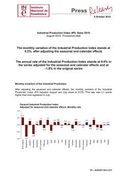 Industrial Production Index (IPI). August 2014 - Instituto Nacional de