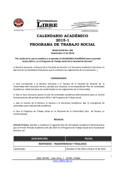 RES. 046- 17 SEP-2014. Calendario 2015-1, T.S - Universidad