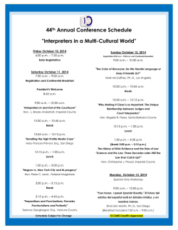 CCIA 44th Annual Conference - SCHEDULE - CCIA - California