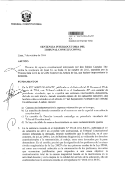 SENTENCIA INTERLOCUTORIA DEL TRIBUNAL