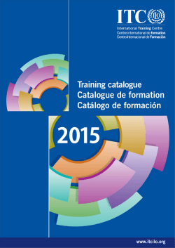 Training catalogue Catalogue de formation Catálogo de - ITC-ILO