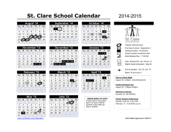 Yearly Event Calendar - St. Clare Catholic School