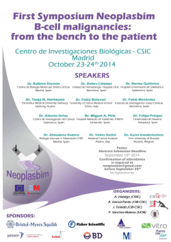 FIRST SYMPOSIUM NEOPLASBIM B-CELL MALIGNANCIES