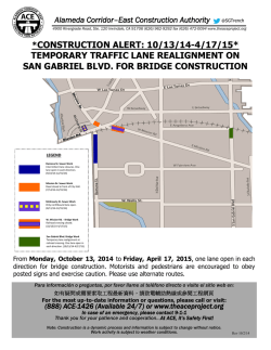 Temporary traffic lane realignment on San Gabriel Blvd. for bridge