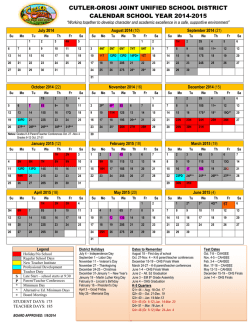 CUTLER-OROSI JOINT UNIFIED SCHOOL DISTRICT CALENDAR