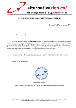 comunicado asignación vacaciones Securitas - Alternativa Sindical