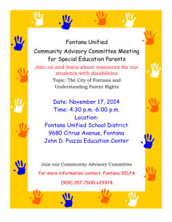 Date: November 17, 2014 Time: 4:30 pm-6:00 pm Location: Fontana