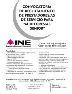 auditores/as senior - Instituto Nacional Electoral