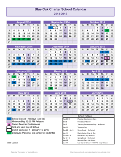 School Year Calendar Template - Blue Oak Charter School