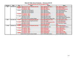 Week #8 Mini Game Schedule - Divisions U9-U10 - Surrey United