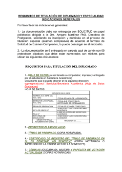 REQUISITOS PARA TITULACIÓN DEL DIPLOMADO - Espe