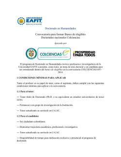 Ver los requisitos de la convocatoria. - Universidad EAFIT