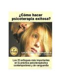 Cómo hacer psicoterapia exitosa - Luis Oblitas - inicio