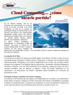 Cloud Computing.... ¿cómo sacarle partido? Cloud - ESLAEE