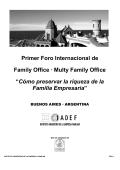 Primer Foro Internacional de Family Office · Multy Family - iadef