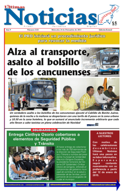 Alza al transporte, asalto al bolsillo de los cancunenses - Ultimas