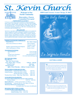 Upcoming Bulletin 12/28/2014 now available - ST. KEVIN CHURCH