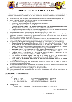instructivo para matricula 2015 - Colegio San Francisco de Asís