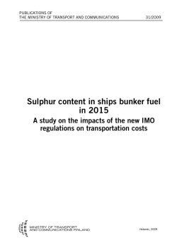 Sulphur content in ships bunker fuel in 2015